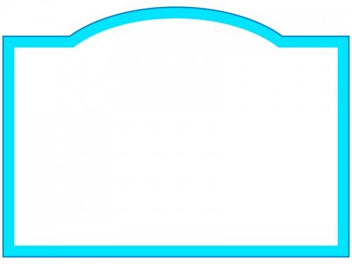 水色のシンプルなフレーム飾り枠イラスト