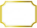 ゴールドのラベル風フレームの飾り枠イラスト