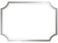 シルバーのラベル風フレームの飾り枠イラスト