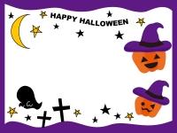 ハロウィンのかぼちゃとおばけ(紫)フレーム飾り枠イラスト