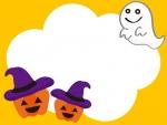 ハロウィンのかぼちゃとおばけのフレーム飾り枠イラスト