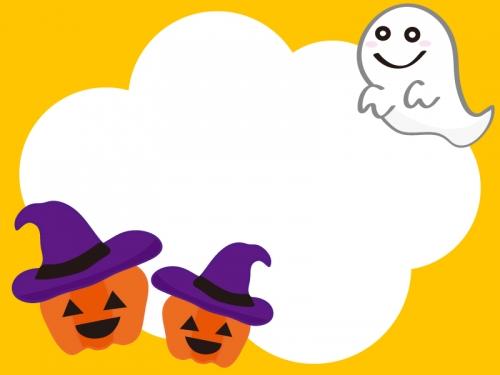 ハロウィンのかぼちゃとおばけのフレーム飾り枠イラスト 無料イラスト