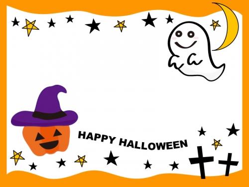 ハロウィンのかぼちゃとおばけ橙フレーム飾り枠イラスト 無料