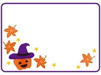 ハロウィンのかぼちゃと紅葉のフレーム飾り枠イラスト