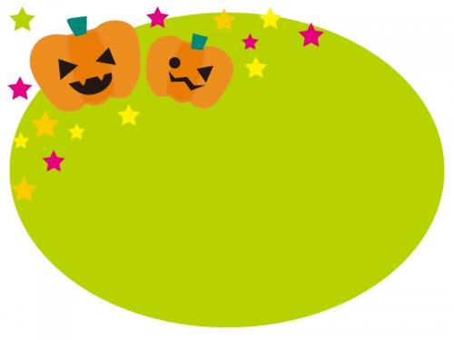 ハロウィンのかぼちゃと星の黄緑のフレーム飾り枠イラスト