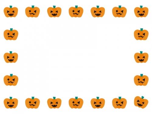ハロウィンのかぼちゃの囲みフレーム飾り枠イラスト