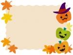 ハロウィンと紅葉のフレーム飾り枠イラスト