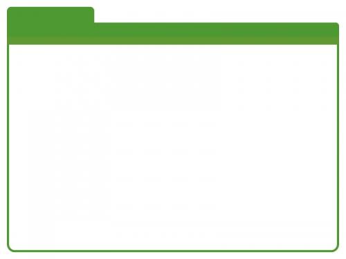 緑のフォルダ風のフレームの飾り枠イラスト