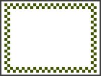 緑と白の市松模様の線フレームの飾り枠イラスト