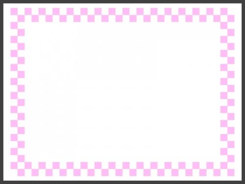 ピンクと白の市松模様の線フレームの飾り枠イラスト
