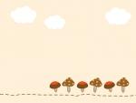 きのこと雲のフレーム飾り枠イラスト