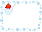 かき氷と水玉フレーム飾り枠イラスト