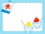 かき氷と旗のフレーム飾り枠イラスト