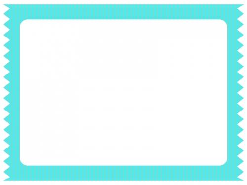 ミントグリーンのストライプのテープ風のフレーム飾り枠イラスト