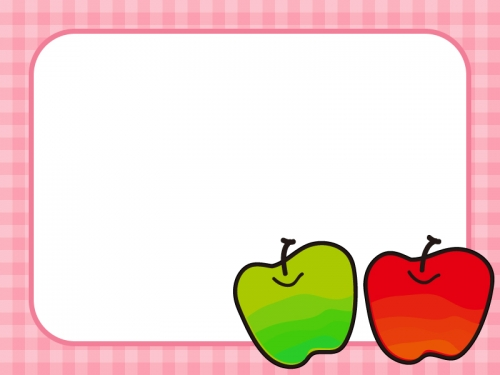 2つのりんごのフレーム飾り枠イラスト