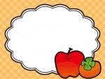 柿とりんごのフレーム飾り枠イラスト
