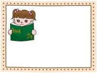 読書・本と女の子のフレーム飾り枠イラスト