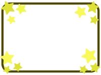 茶色枠の星のフレーム飾り枠イラスト