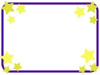 青色枠の星のフレーム飾り枠イラスト