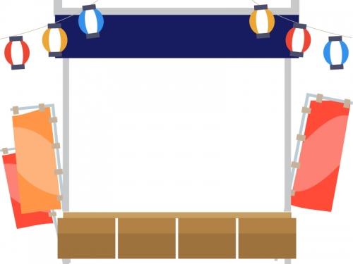 屋台と提灯のお祭りフレーム飾り枠イラスト