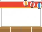 赤い屋台と提灯のお祭りフレーム飾り枠イラスト