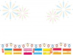 並んだ屋台と花火のお祭りフレーム飾り枠イラスト