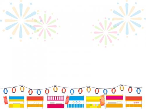 並んだ屋台と花火のお祭りフレーム飾り枠イラスト 無料イラスト
