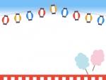 提灯と綿あめのお祭りフレーム飾り枠イラスト
