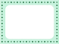 ミントグリーンの水玉フレーム飾り枠イラスト