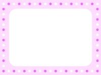 パステルピンクの水玉フレーム飾り枠イラスト