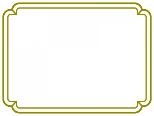 シンプルな緑の二重線の線フレーム飾り枠イラスト