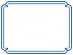 シンプルな青の二重線の線フレーム飾り枠イラスト