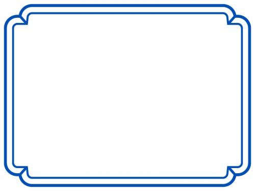 シンプルな青の二重線の線フレーム飾り枠イラスト 無料イラスト