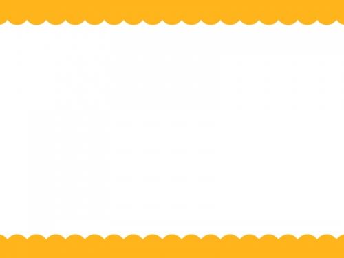 オレンジ色の上下のモコモコのフレーム飾り枠イラスト