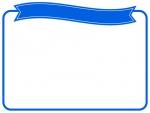 青いリボンの見出し付きのフレーム飾り枠イラスト