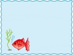 赤い金魚のフレーム飾り枠イラスト