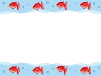 列になって泳ぐ金魚のフレーム飾り枠イラスト