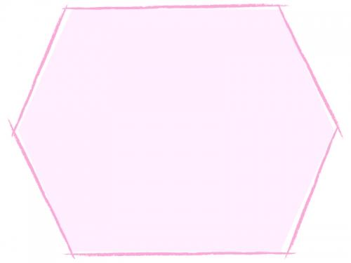 六角形の手書き線風のフレーム飾り枠イラスト