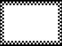 白黒のチェック柄のフレーム飾り枠イラスト