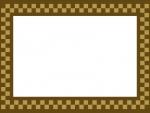茶色のチェック柄のフレーム飾り枠イラスト