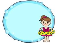 海水浴と子供のフレーム飾り枠イラスト