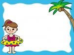 ヤシの木と海水浴の子供のフレーム飾り枠イラスト