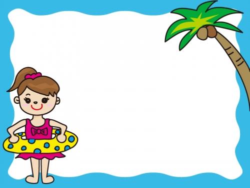 ヤシの木と海水浴の子供のフレーム飾り枠イラスト 無料イラスト