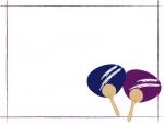 青と紫のうちわのフレーム飾り枠イラスト