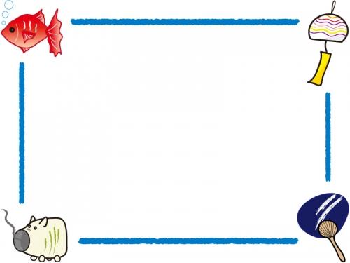 うちわ/風鈴/金魚/ブタ蚊取りのフレーム飾り枠イラスト