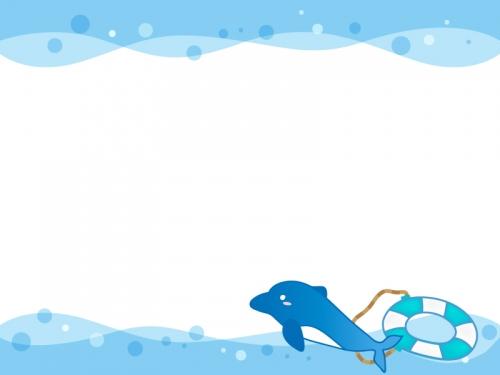 浮き輪とイルカのフレーム飾り枠イラスト 無料イラスト かわいいフリー
