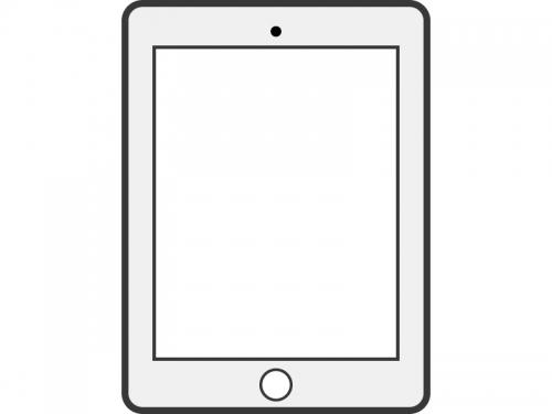 白いタブレットのフレーム飾り枠イラスト