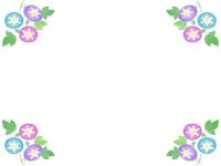朝顔の四隅のフレーム飾り枠イラスト