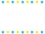 水色と黄色の星のフレーム飾り枠イラスト