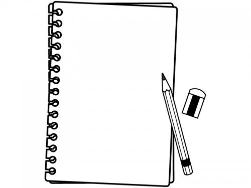 破ったリングノートと鉛筆の黒フレーム飾り枠イラスト 無料イラスト